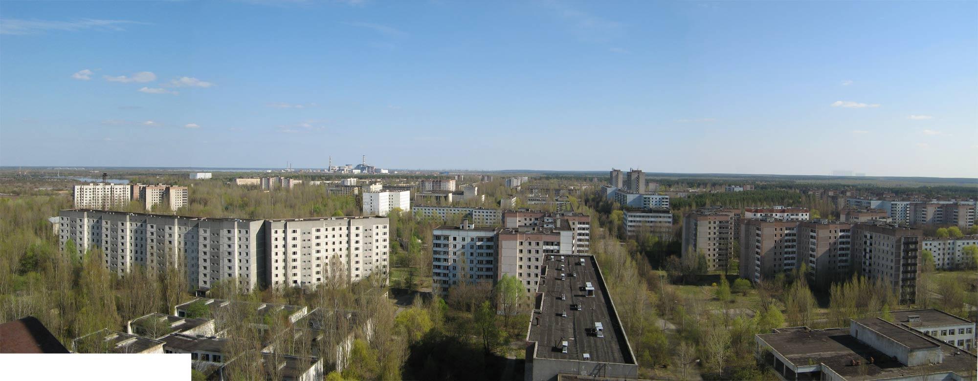 Панорама от покрива на жилищна сграда в Припят.